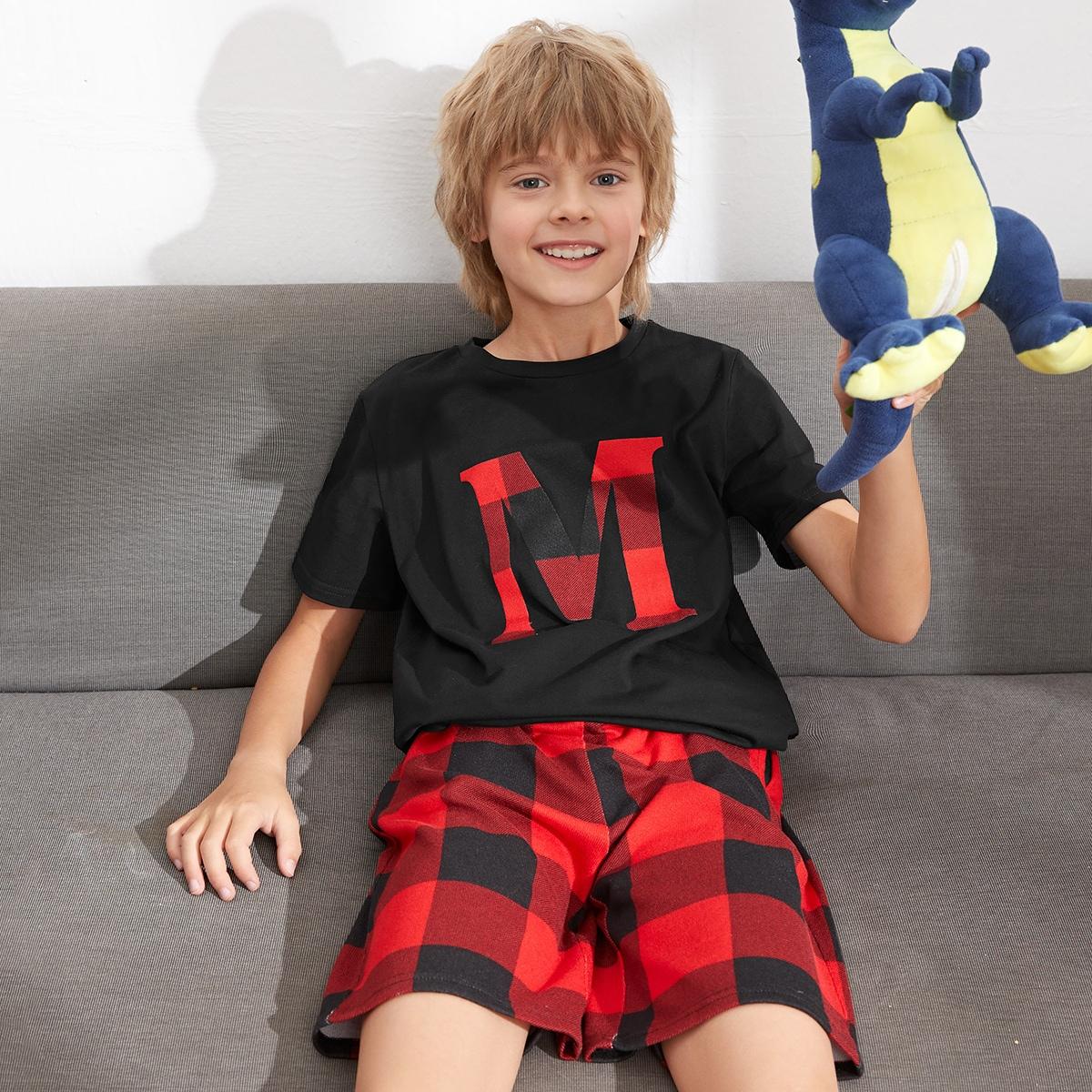 Пижама в клетку с текстовым принтом для мальчиков