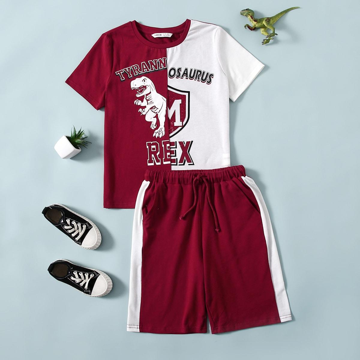 Контрастные шорты и футболка с текстовым принтом для мальчиков