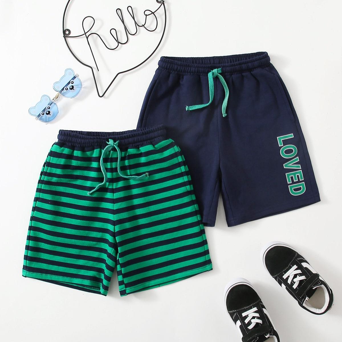 Пижамные шорты с текстовым принтом и полосками для мальчиков 2шт