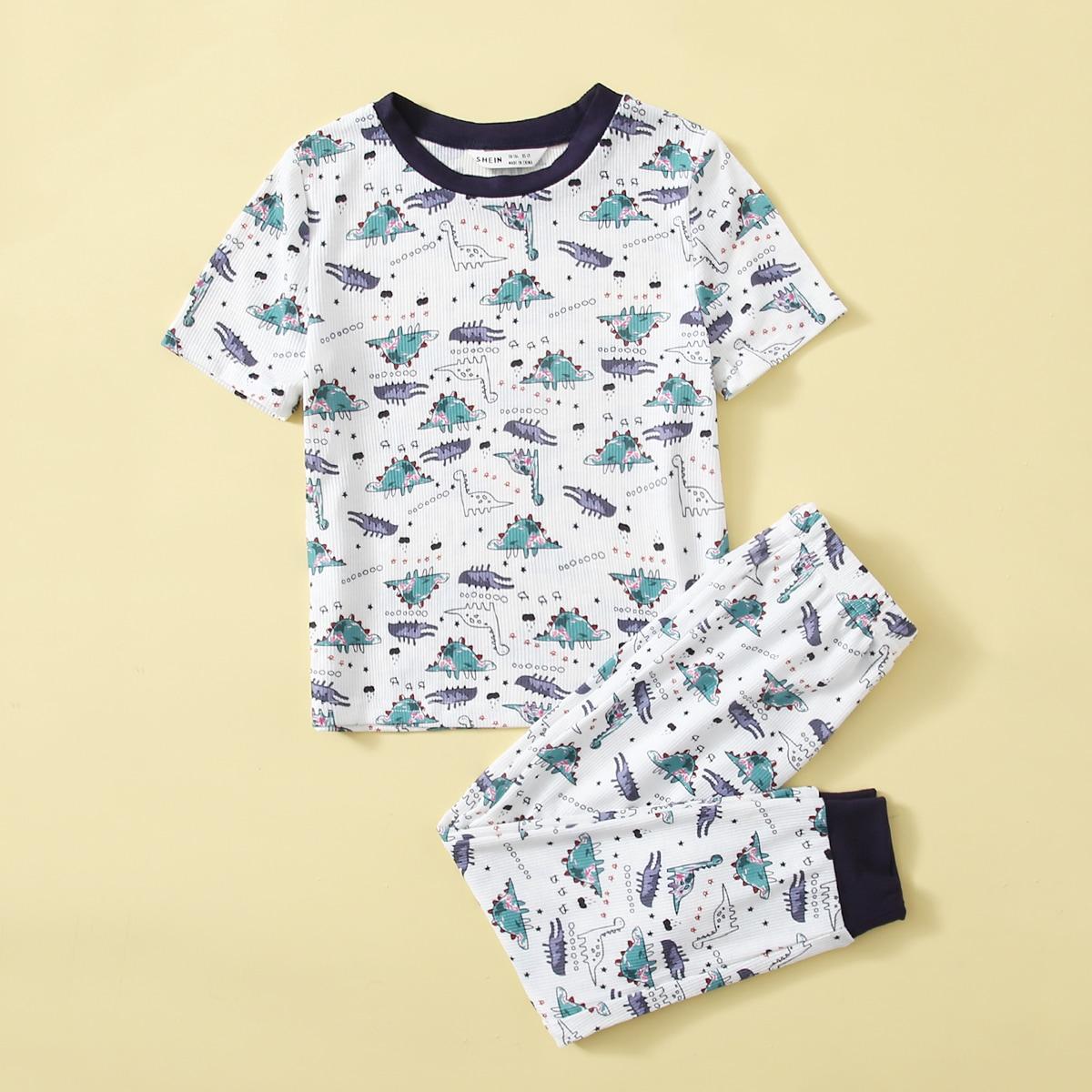 Пижама с принтом динозавра и контрастным воротником для мальчиков