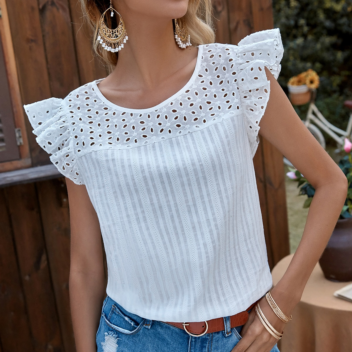 SHEIN / Eyelet Embroidered Ruffle Trimed Blouse