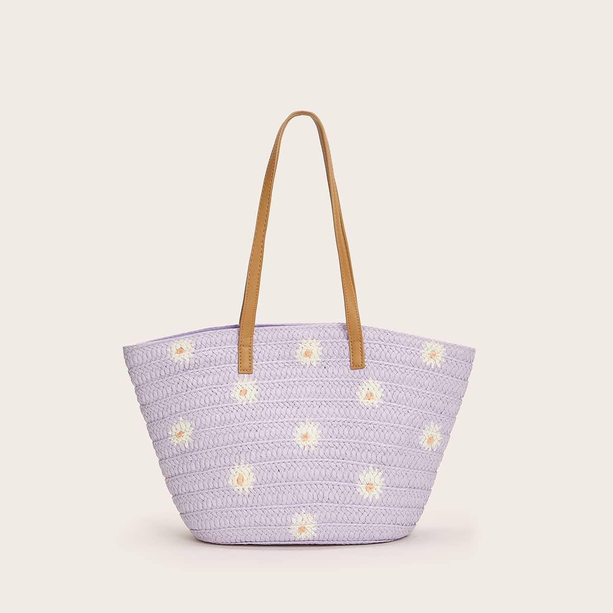 Соломенная сумка-тоут с цветочным рисунком