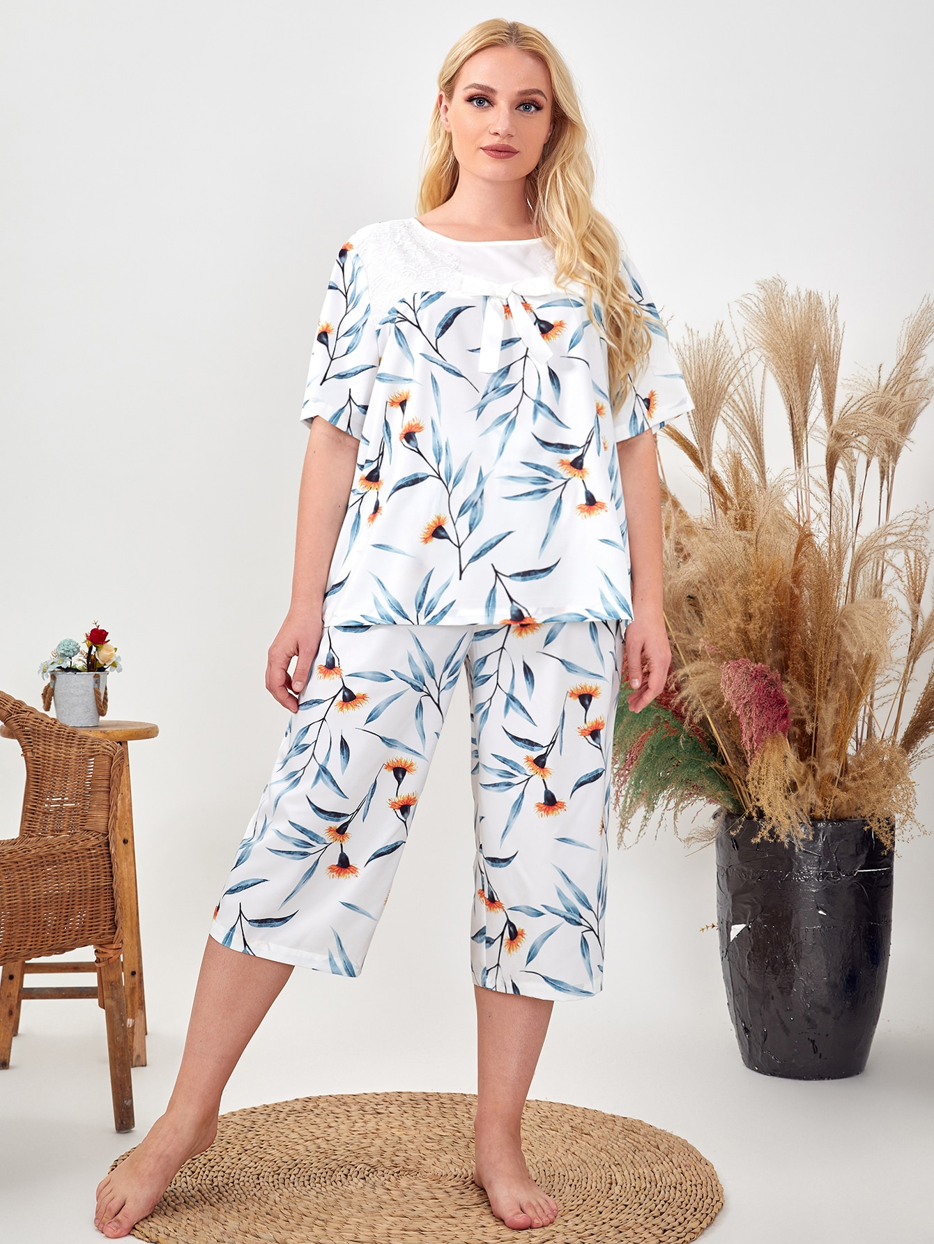 Plus Bow Front Floral Top & Pants Pj Set