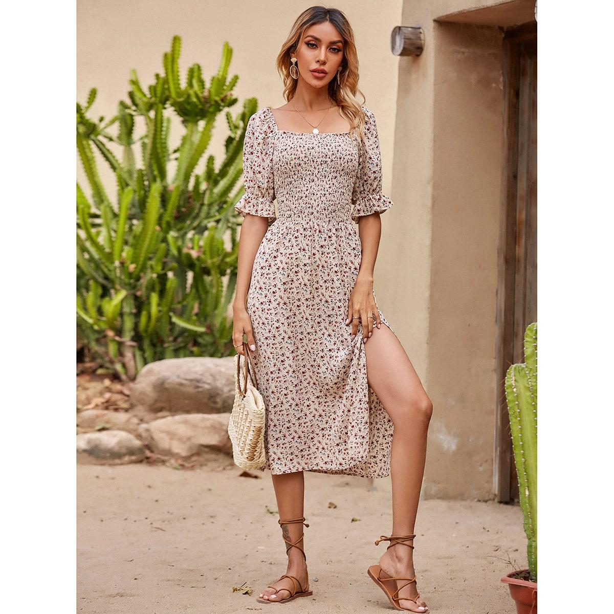 Ditsy Floral Frill Trim Shirred Split Thigh Dress