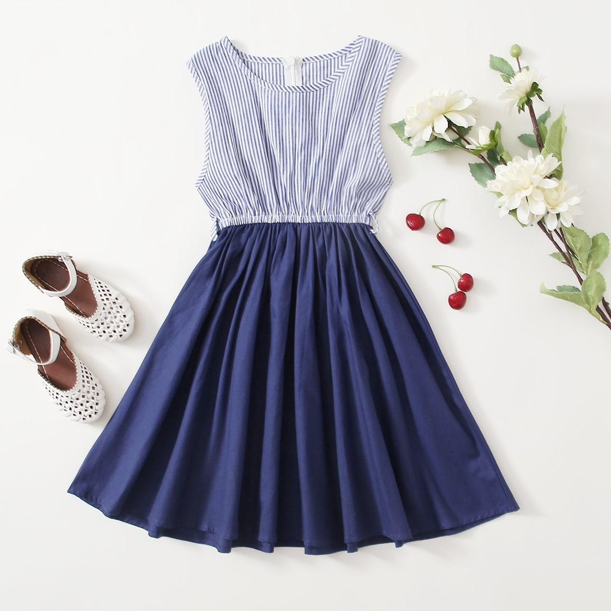 A-Linie Kleid mit Kontrast Streifen