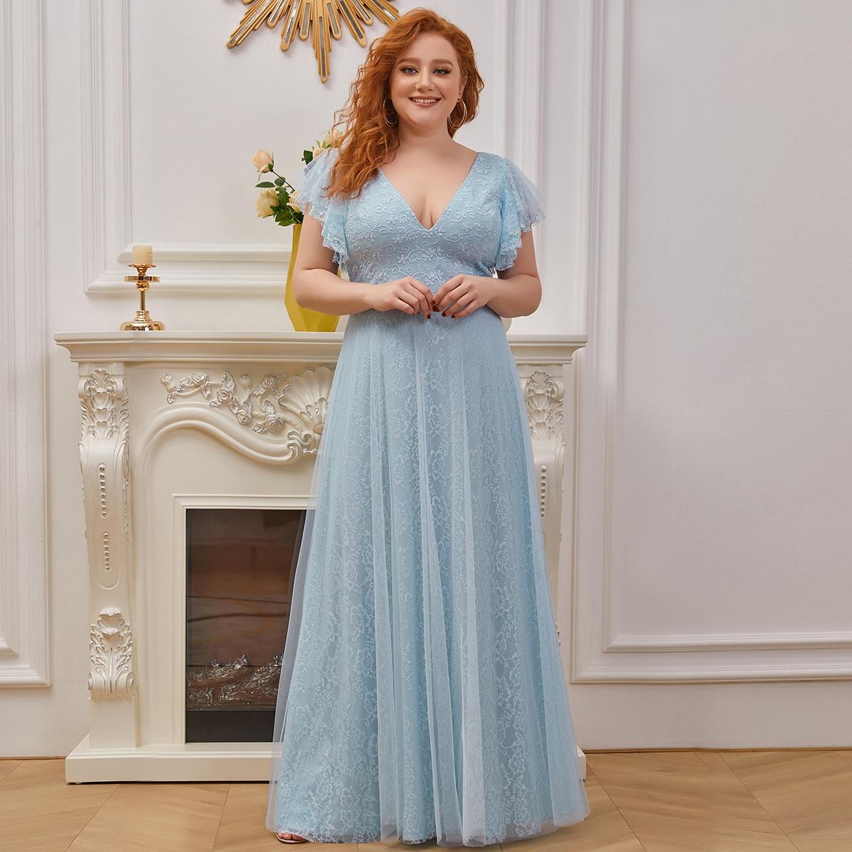 Сетчатое платье размера плюс с многослойными оборками