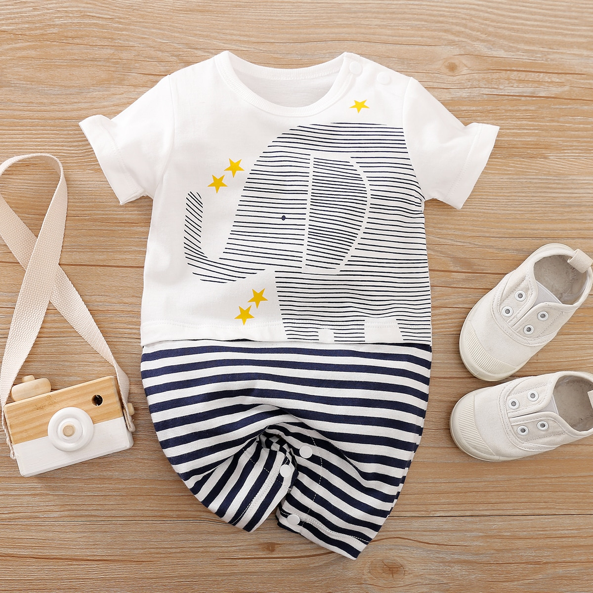 Baby Boy Cartoon & Striped Graphic Romper