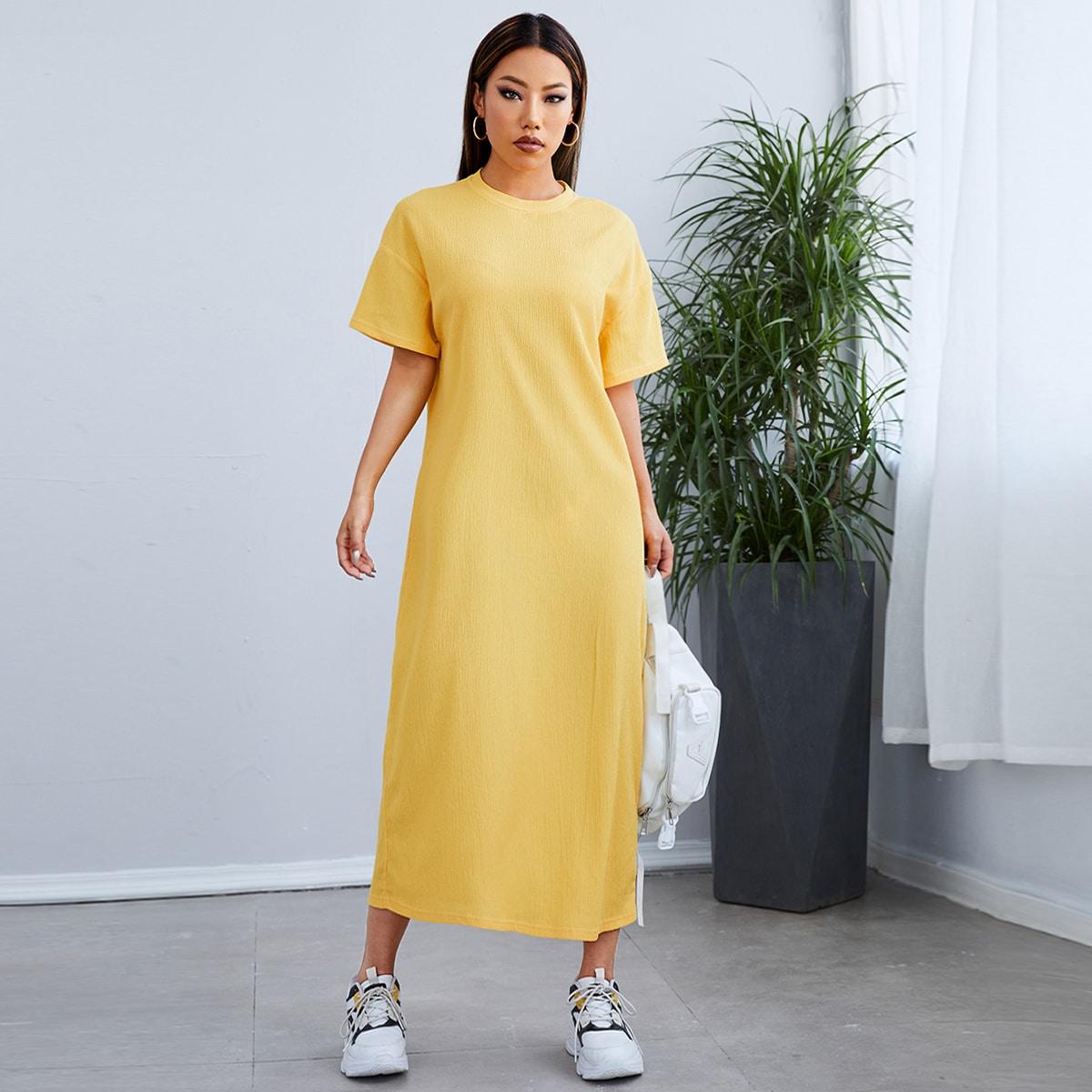 Одноцветный Повседневный Платье