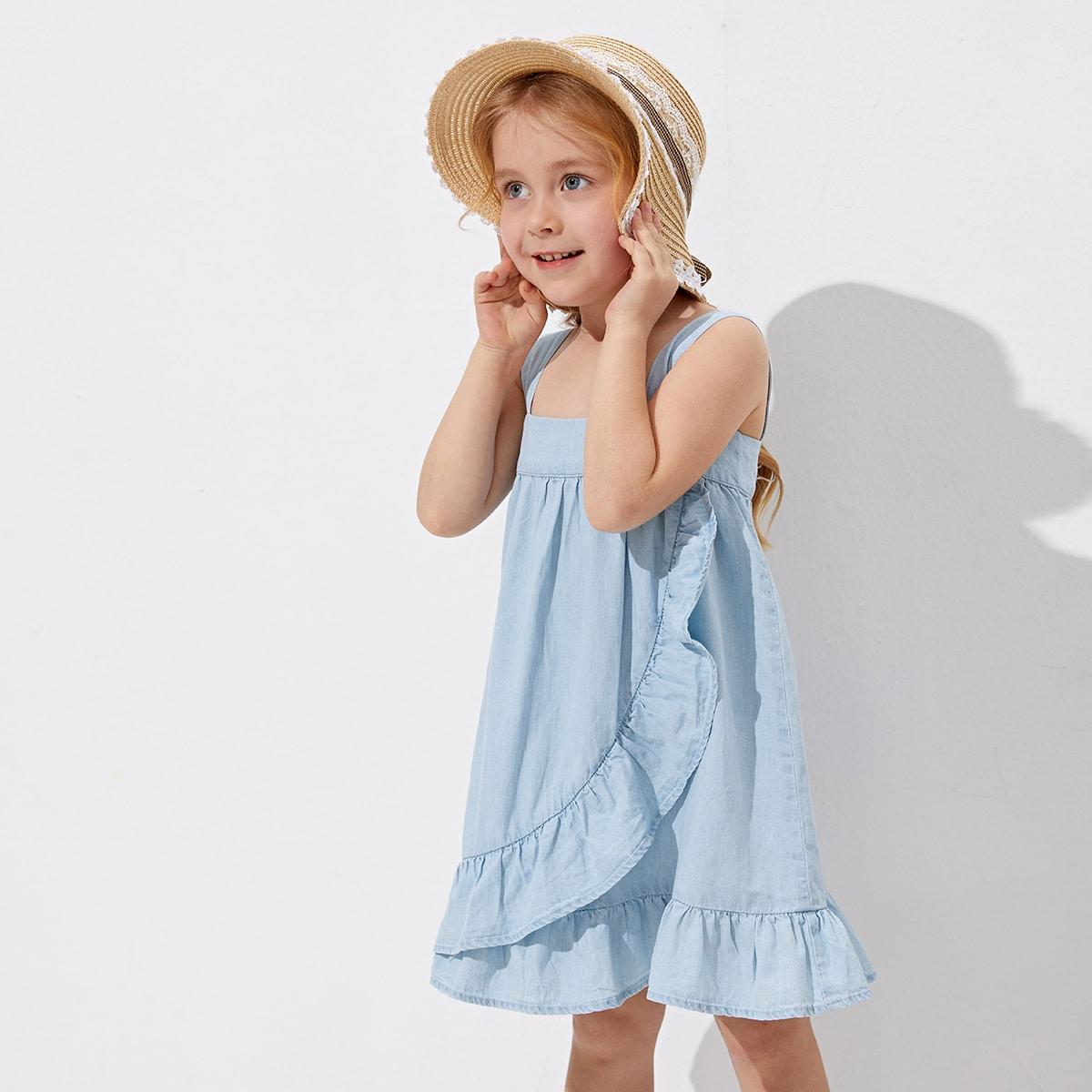 Джинсовое платье на бретелях с оборками для девочек SheIn skdress03210118439