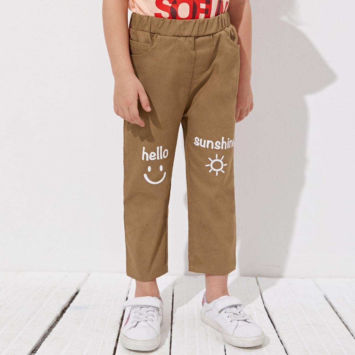 Короткие брюки с текстовым принтом для мальчиков