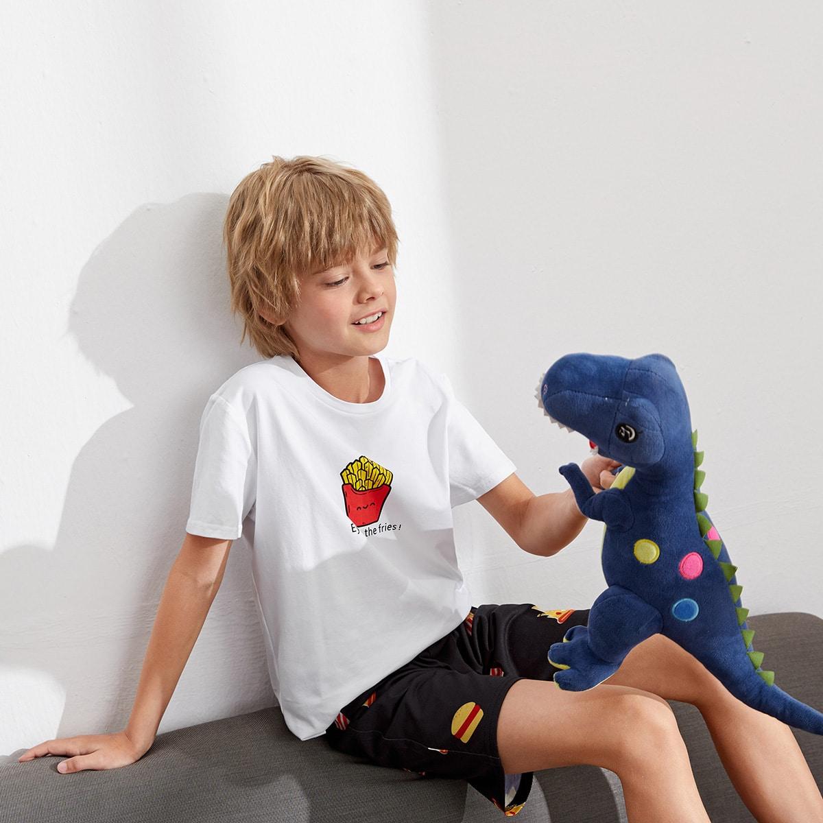 Пижама с текстовым и мультипликационным принтом для мальчиков