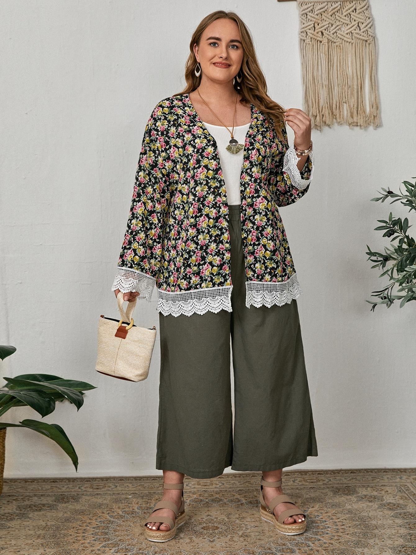 Plus All Over Floral Print Contrast Lace Kimono