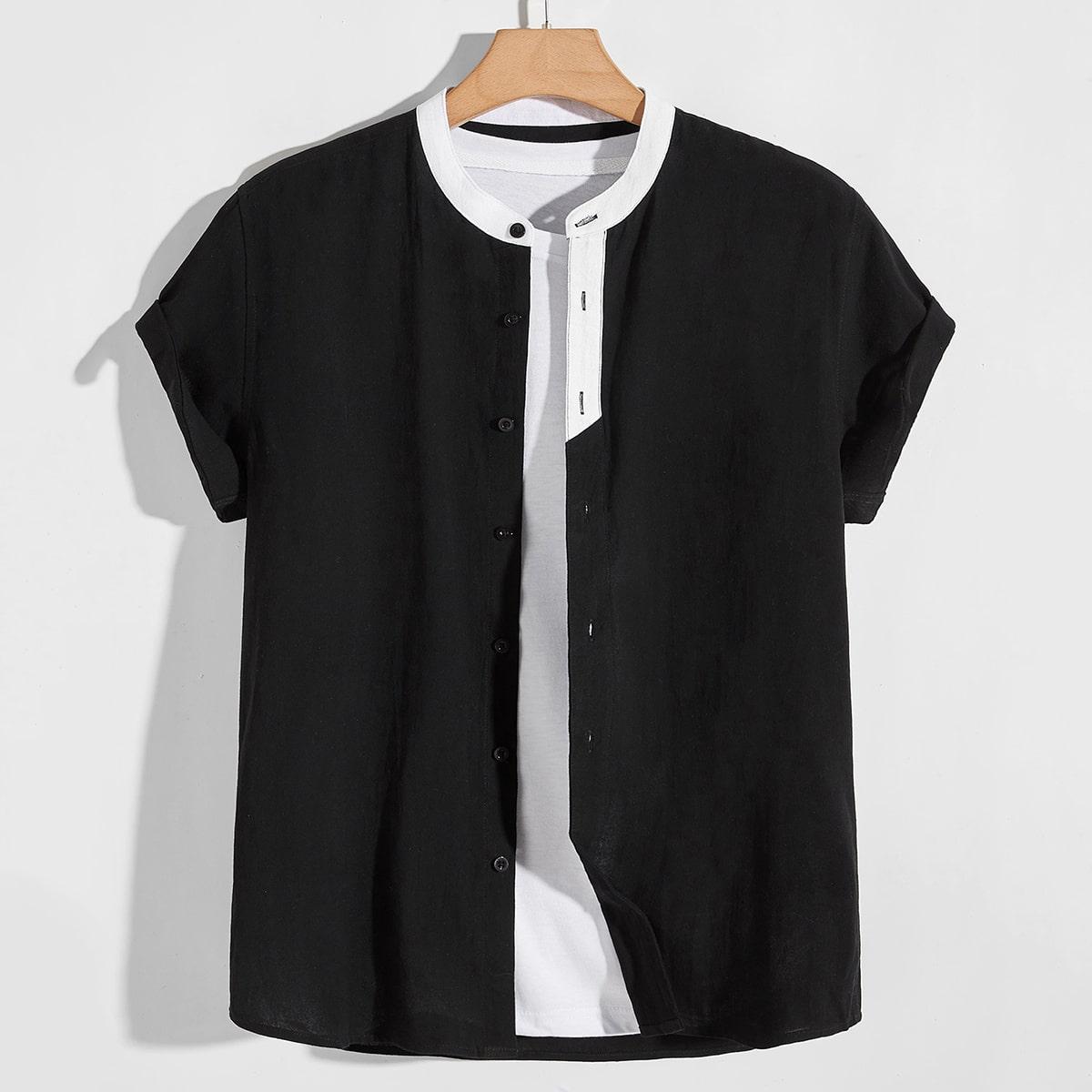 Мужская рубашка на пуговицах без футболки