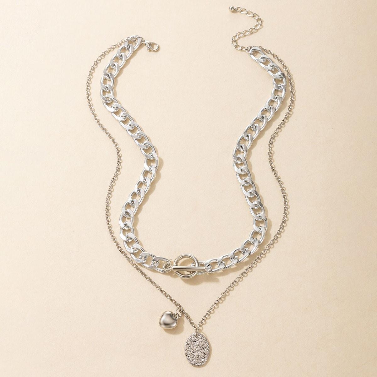 Mehrschichtige Halskette mit Geo & Herz Anhänger