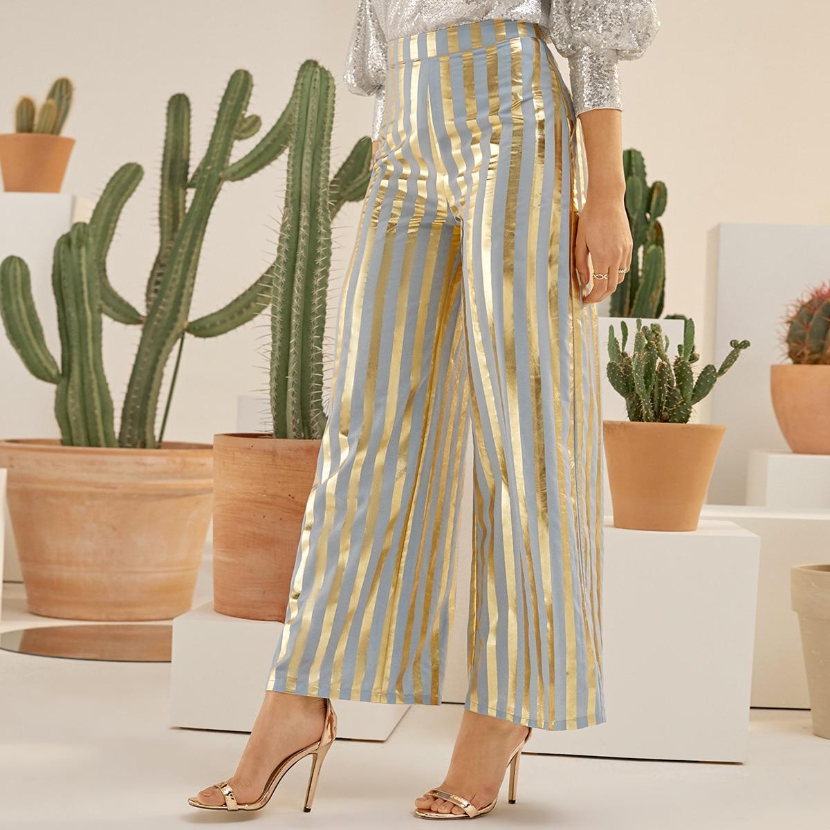 Двухцветные брюки-палаццо в полоску