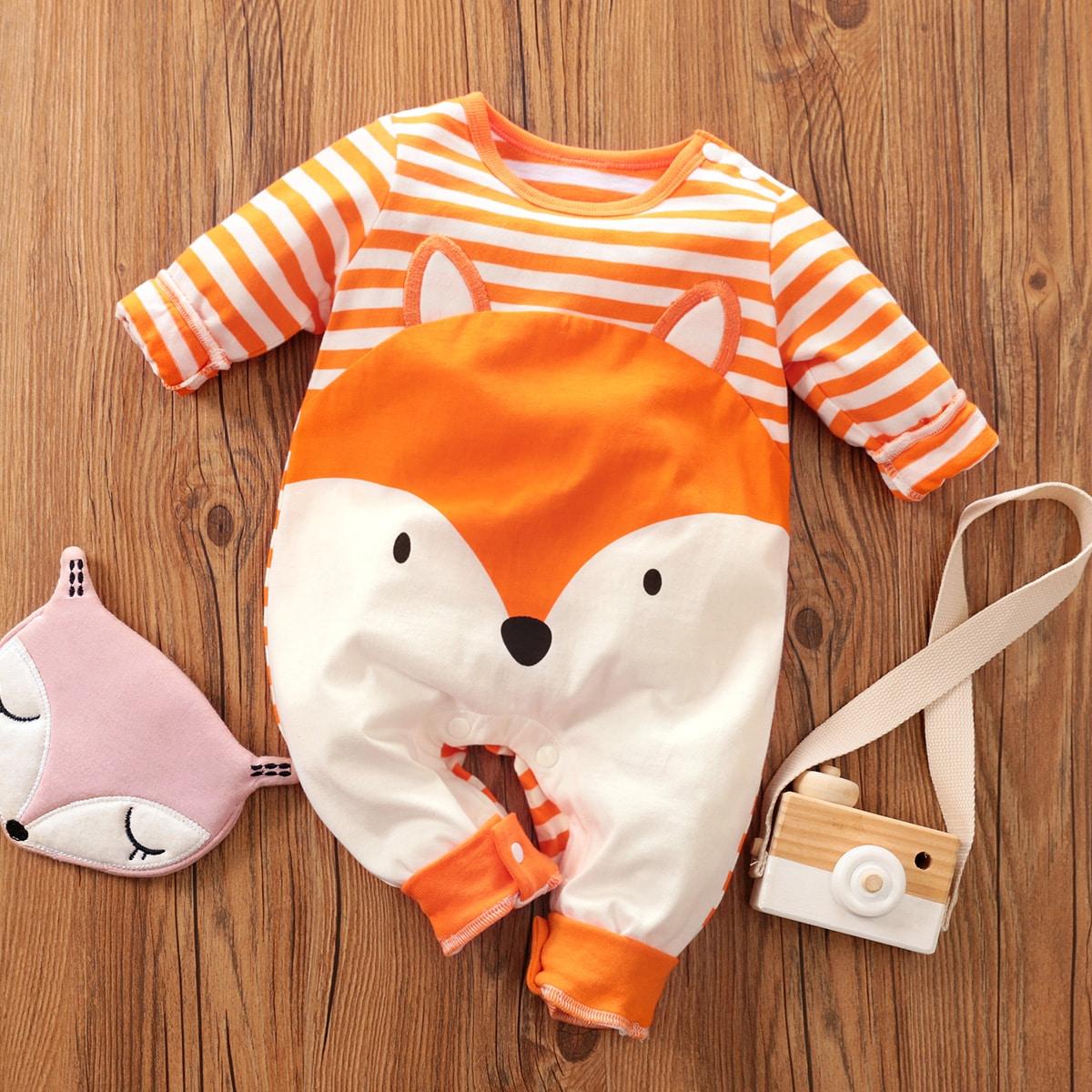 Baby Boy Striped & Cartoon Graphic Jumpsuit