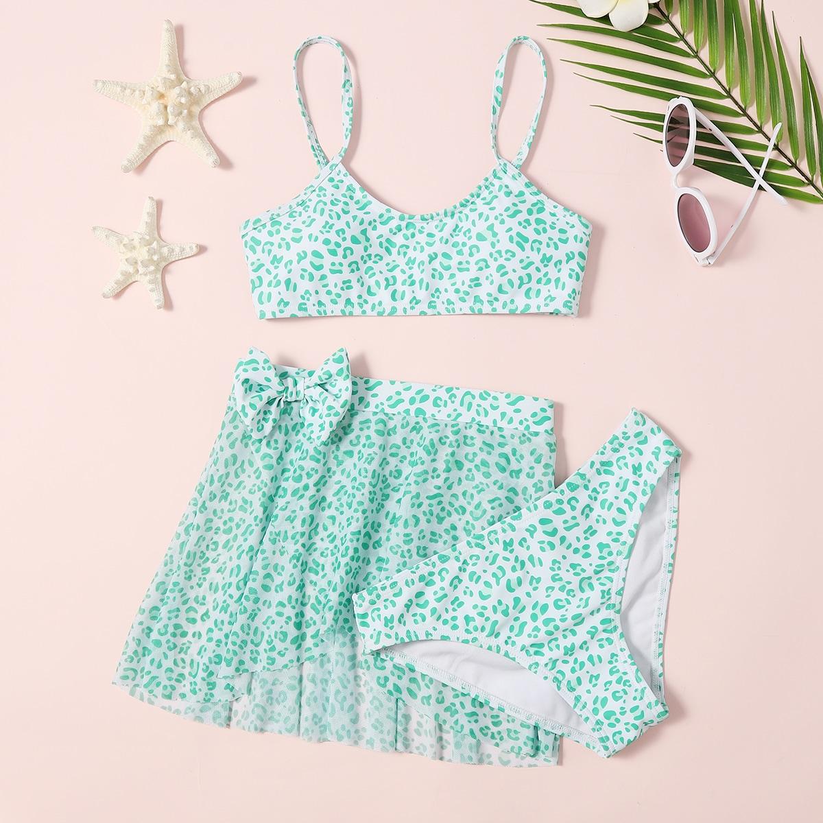 SHEIN / 3pack Girls Leopard Bikini Swimsuit & Beach Skirt