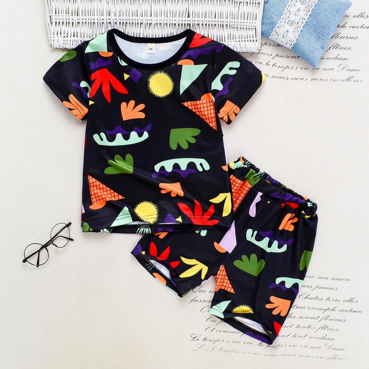 Шорты и футболка с мультипликационным принтом для мальчиков
