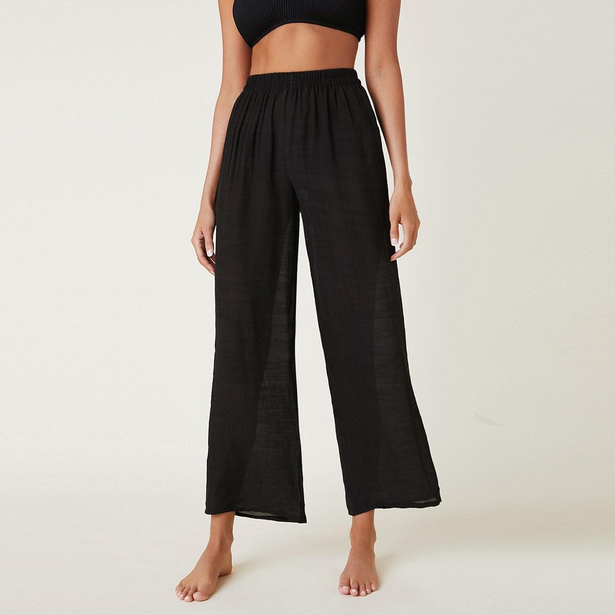 Однотонные прозрачные пляжные брюки по цене 600