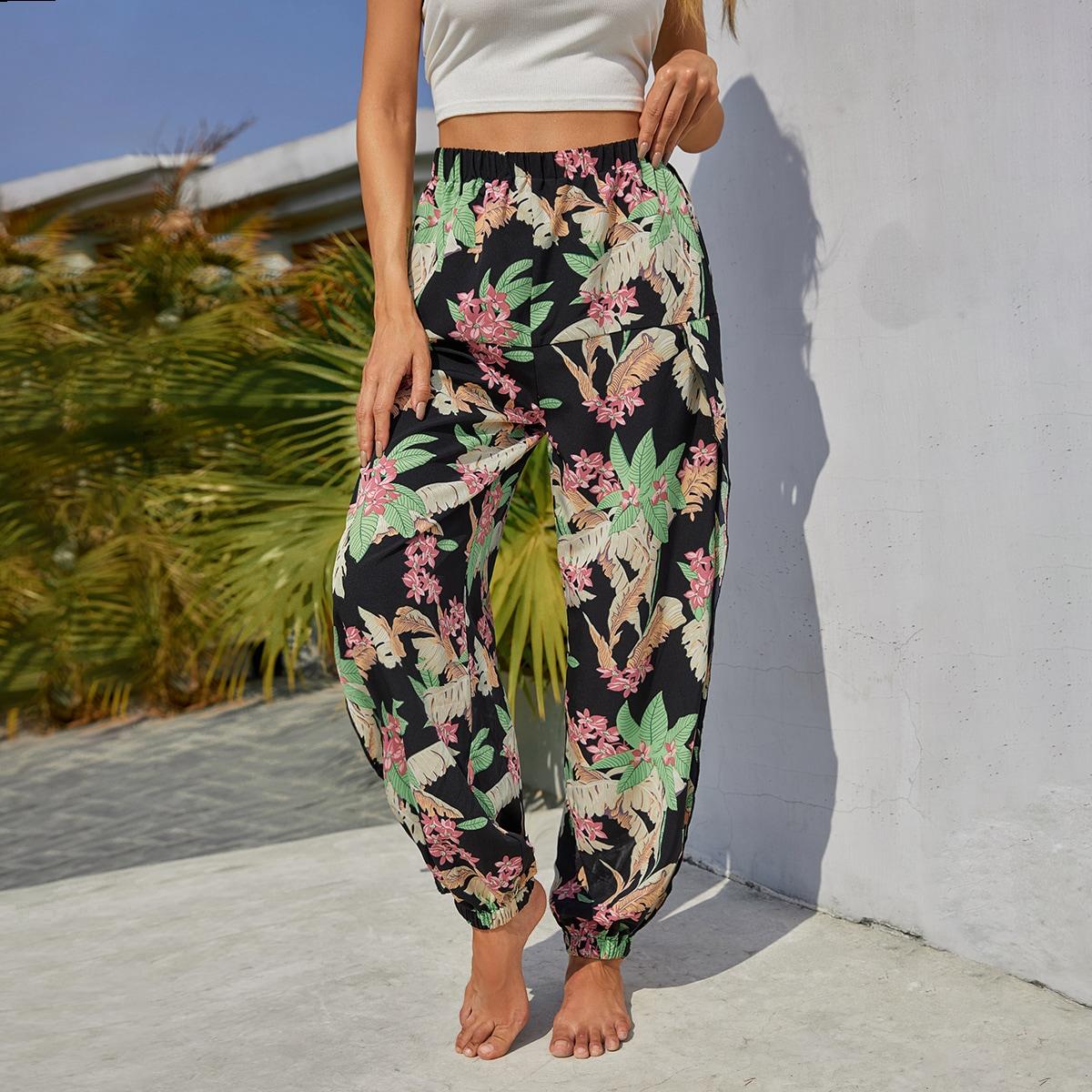Floral Elastic Waist Split Pants