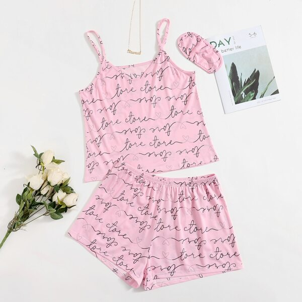 Plus Letter Graphic PJ Set & Eye Cover, Baby pink