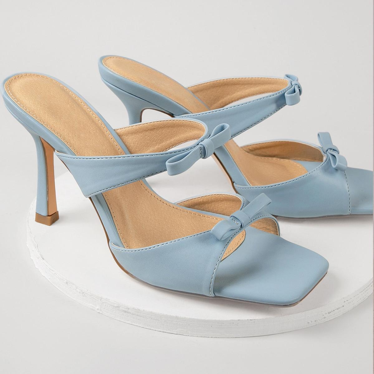 Туфли из искусственной кожи на каблуках с бантом