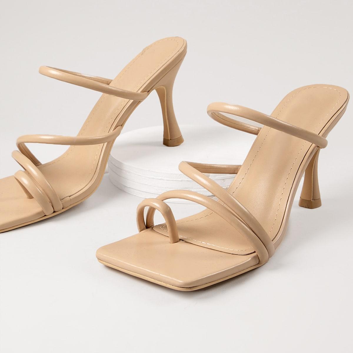Розовые туфли на каблуках с открытым носком из искусственной кожи