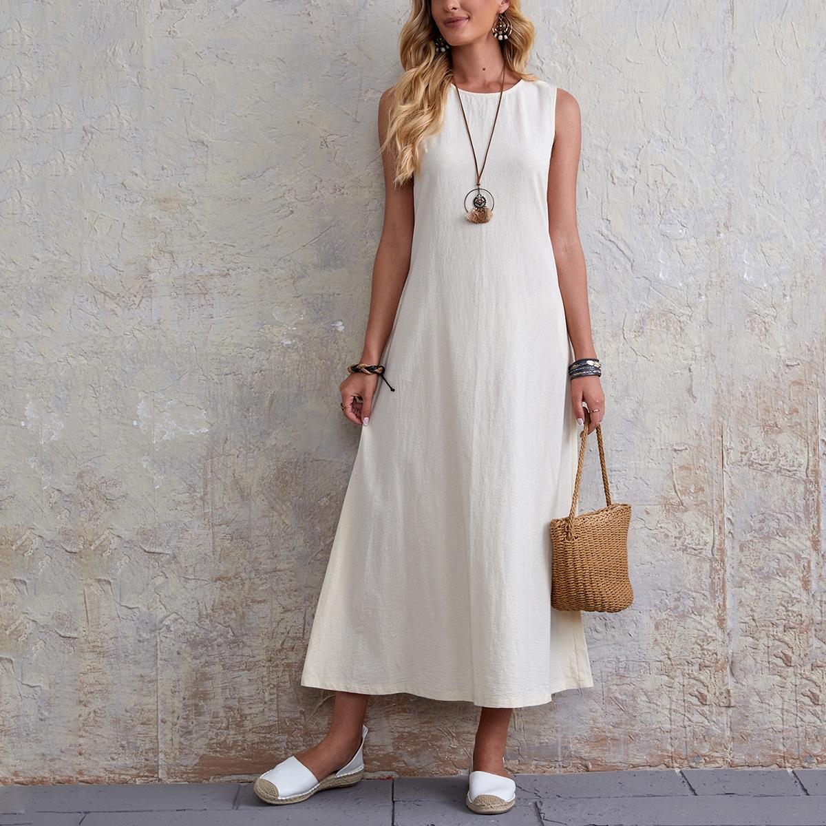 Однотонное платье без рукавов