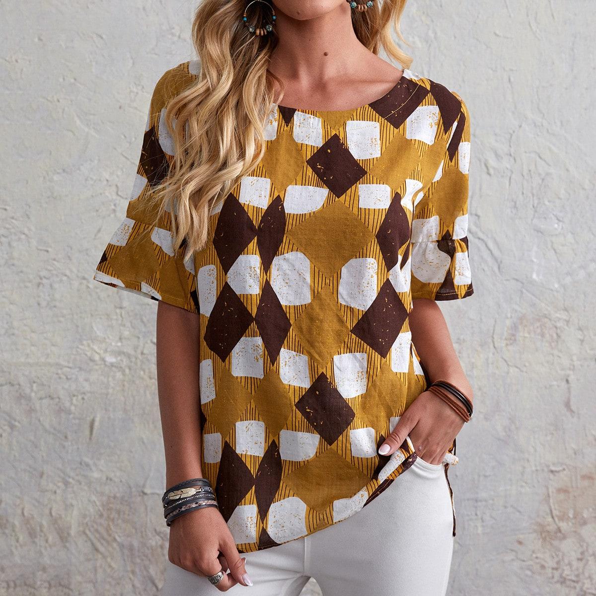 Блузка с геометрическим принтом по цене 880