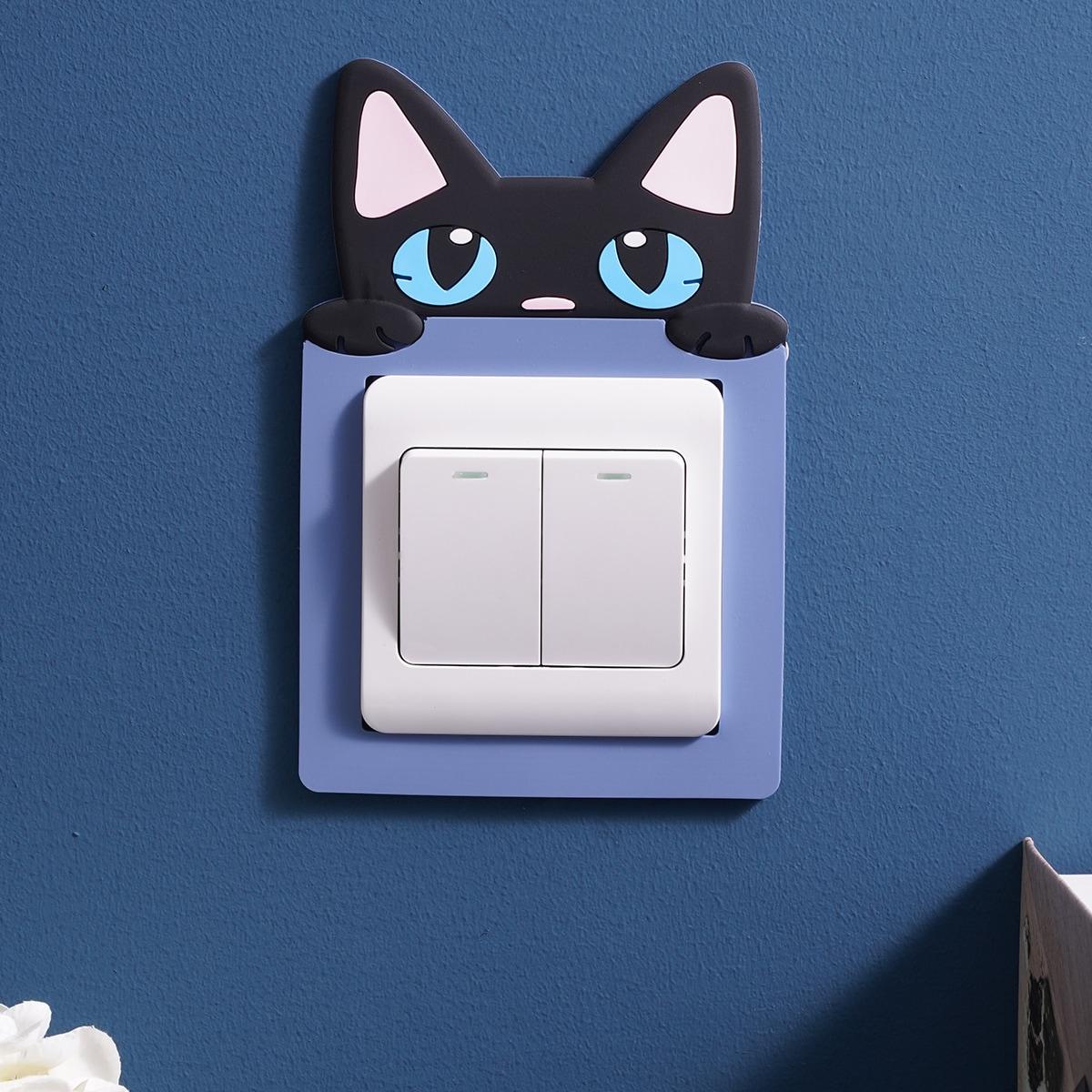 Наклейка на переключатель в форме кошки 1шт