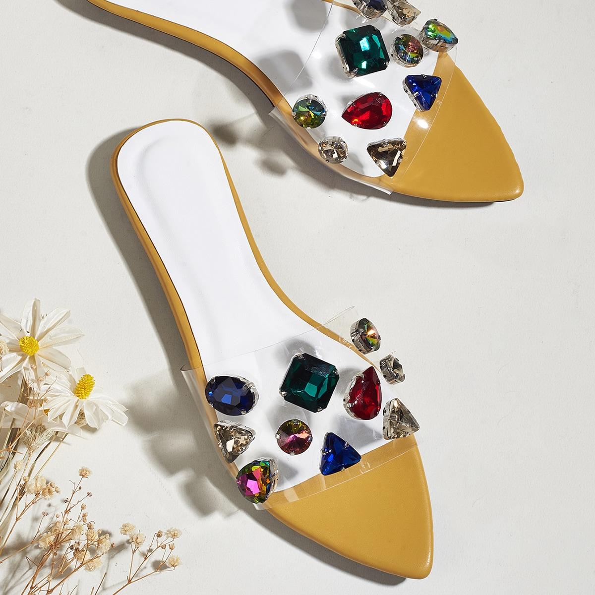 Прозрачные сандалии с драгоценным камнем по цене 1 420