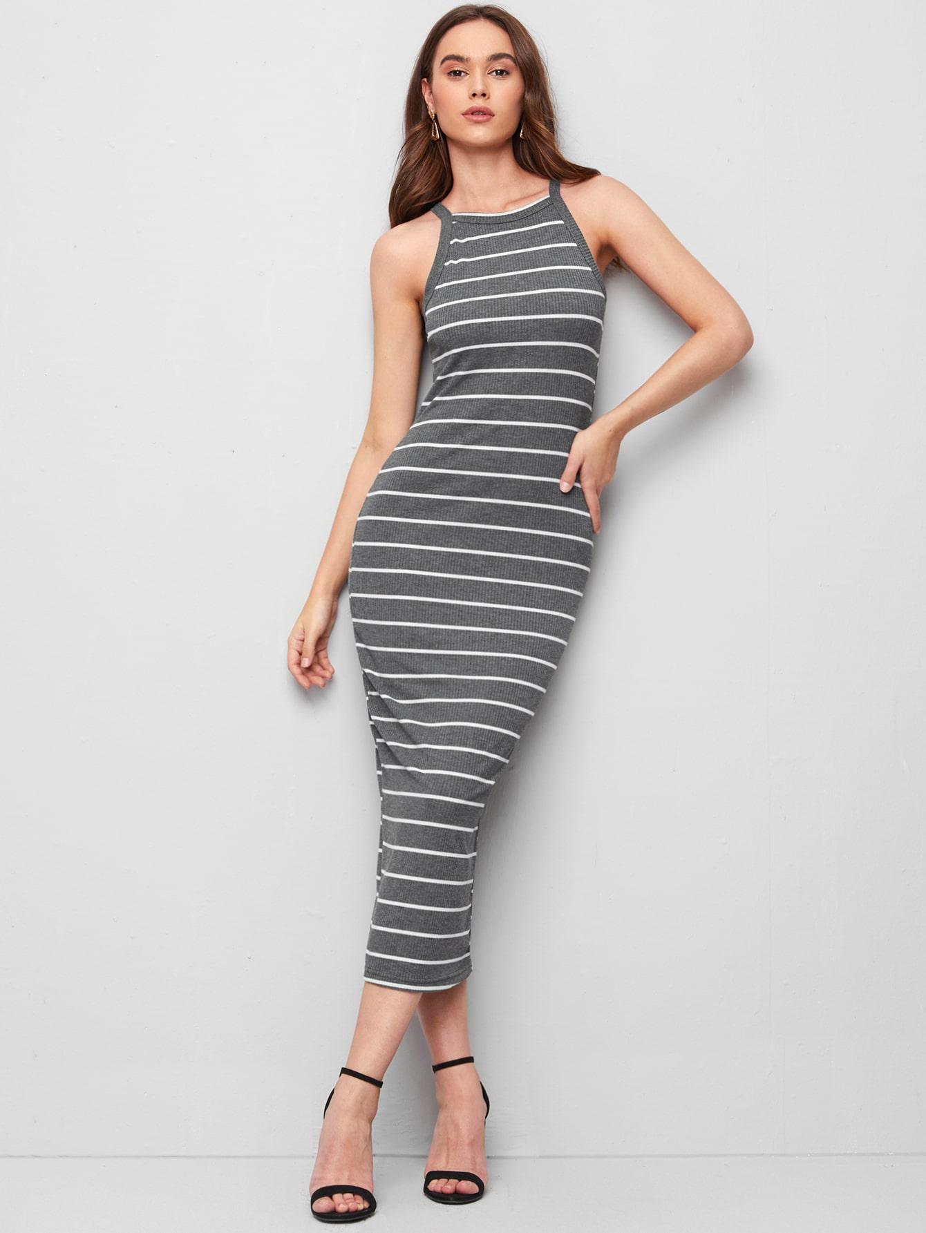 rib-knit striped bodycon dress