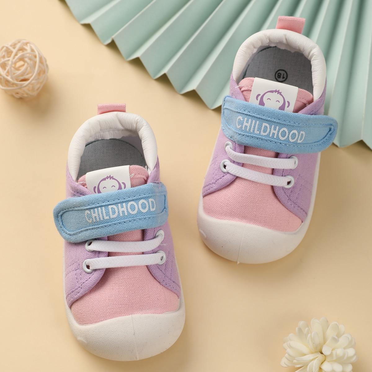 Контрастная холщовая обувь для девочек от SHEIN
