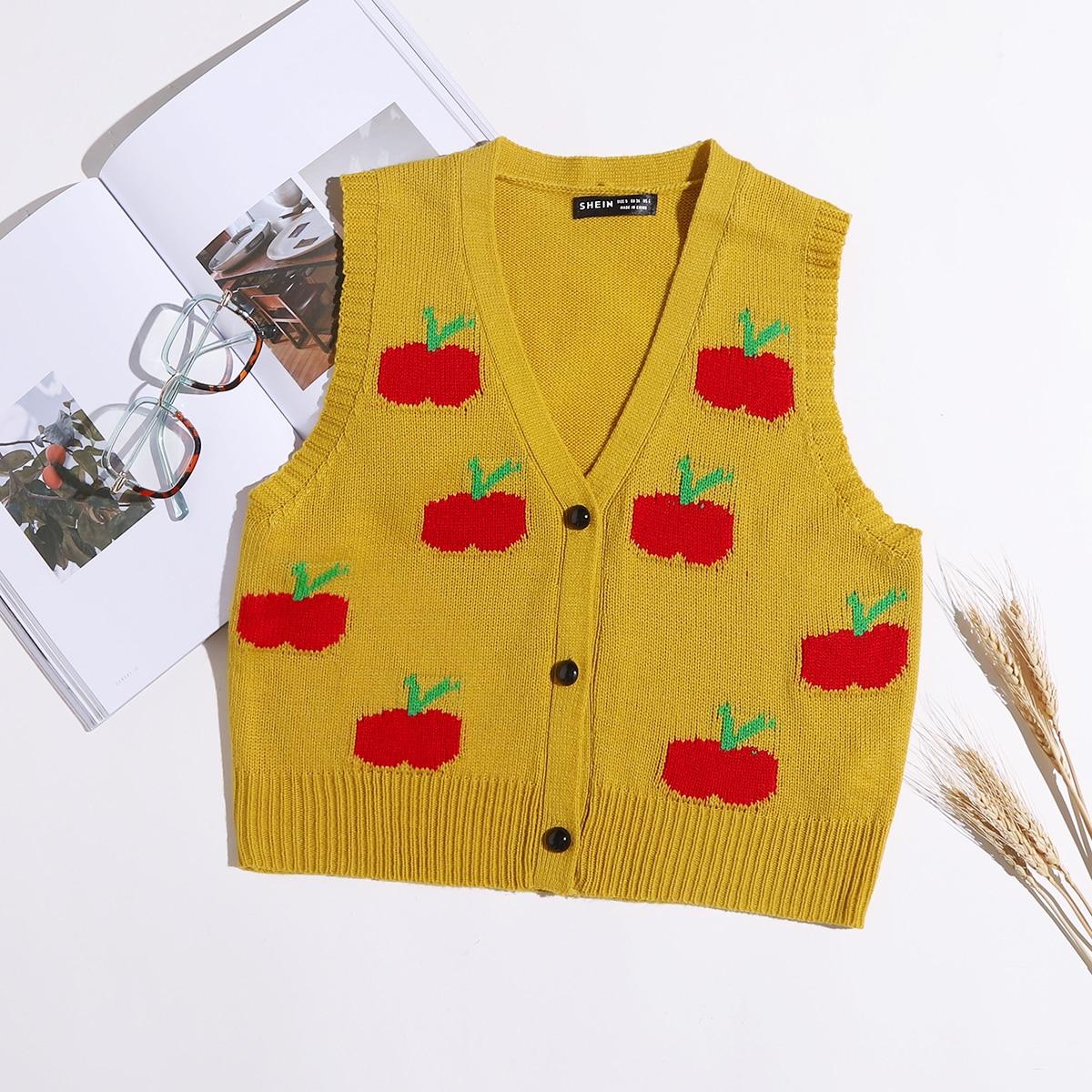 SHEIN Casual Fruit & groenten Cardigan Voorpand met Knoopjes