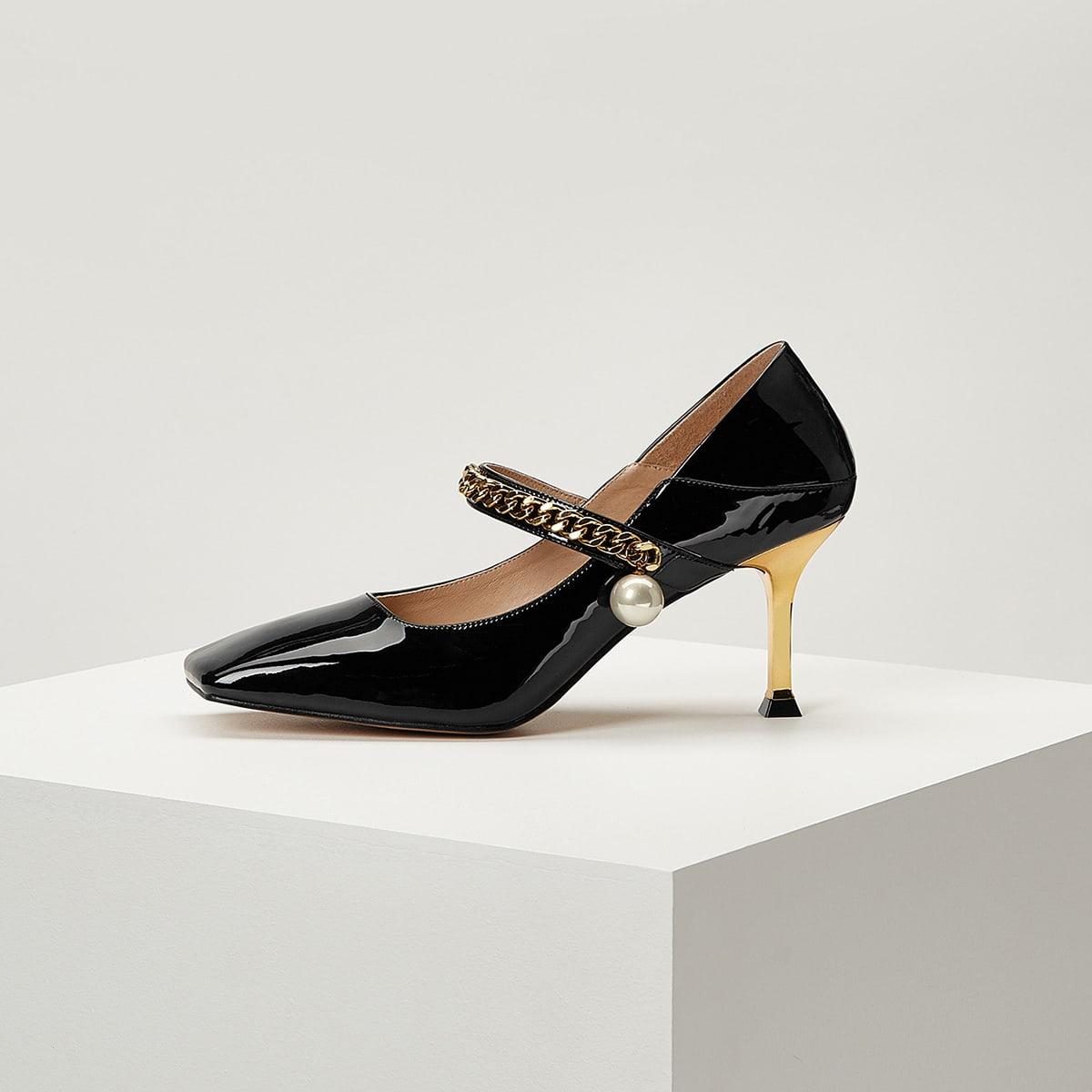 Кожаные туфли на каблуке с цепочкой от SHEIN
