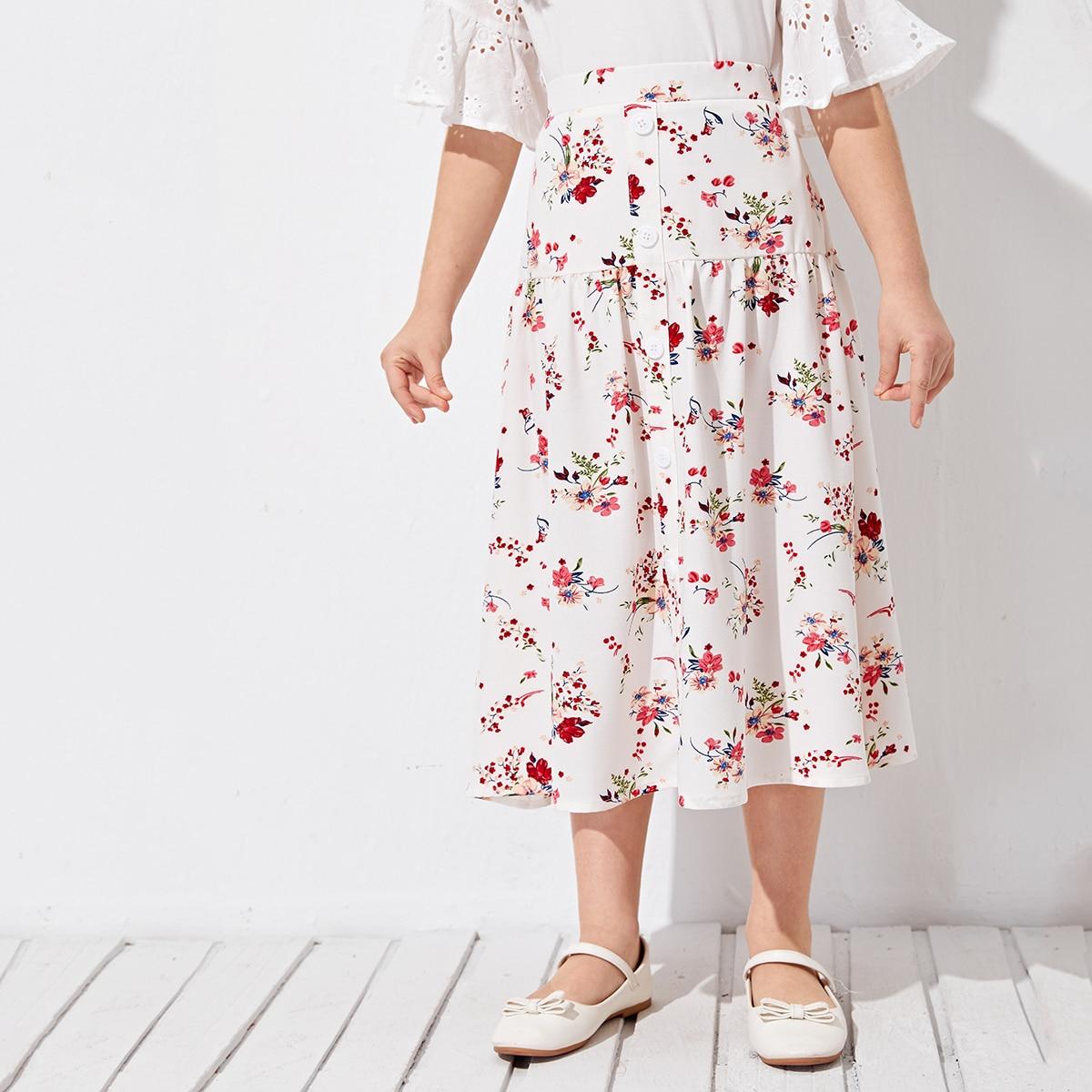 Юбка с цветочным принтом и пуговицами для девочек