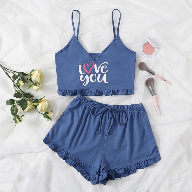 Letter Graphic Cami Top & Frill Trim Shorts PJ Set, Baby blue