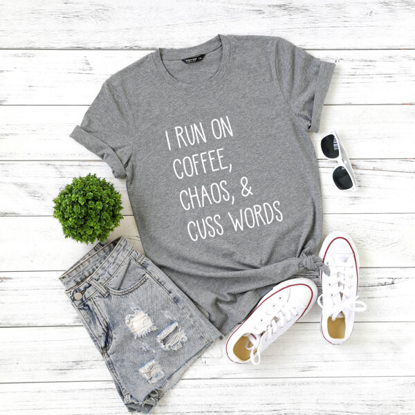 Plus Slogan Graphic Short Sleeve Tee, Grey