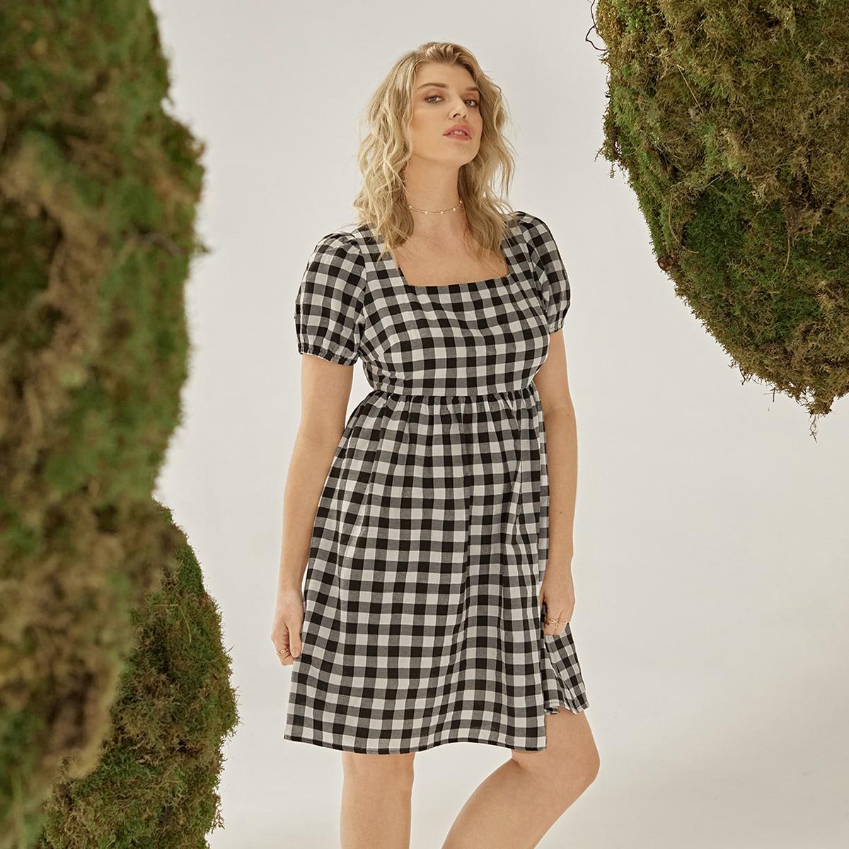 Платье в клетку с пышными рукавами размера плюс