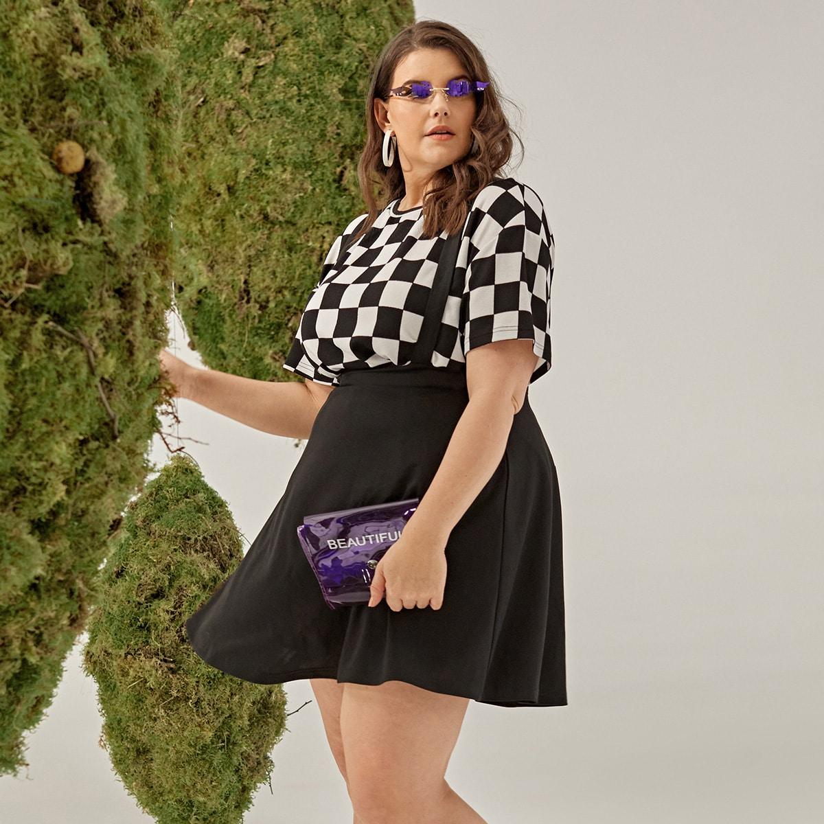 Однотонное платье размера плюс без топа