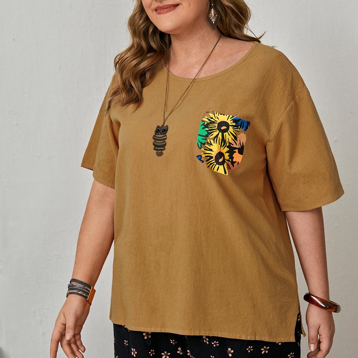 Блузка размера плюс с разрезом и цветочным принтом по цене 530