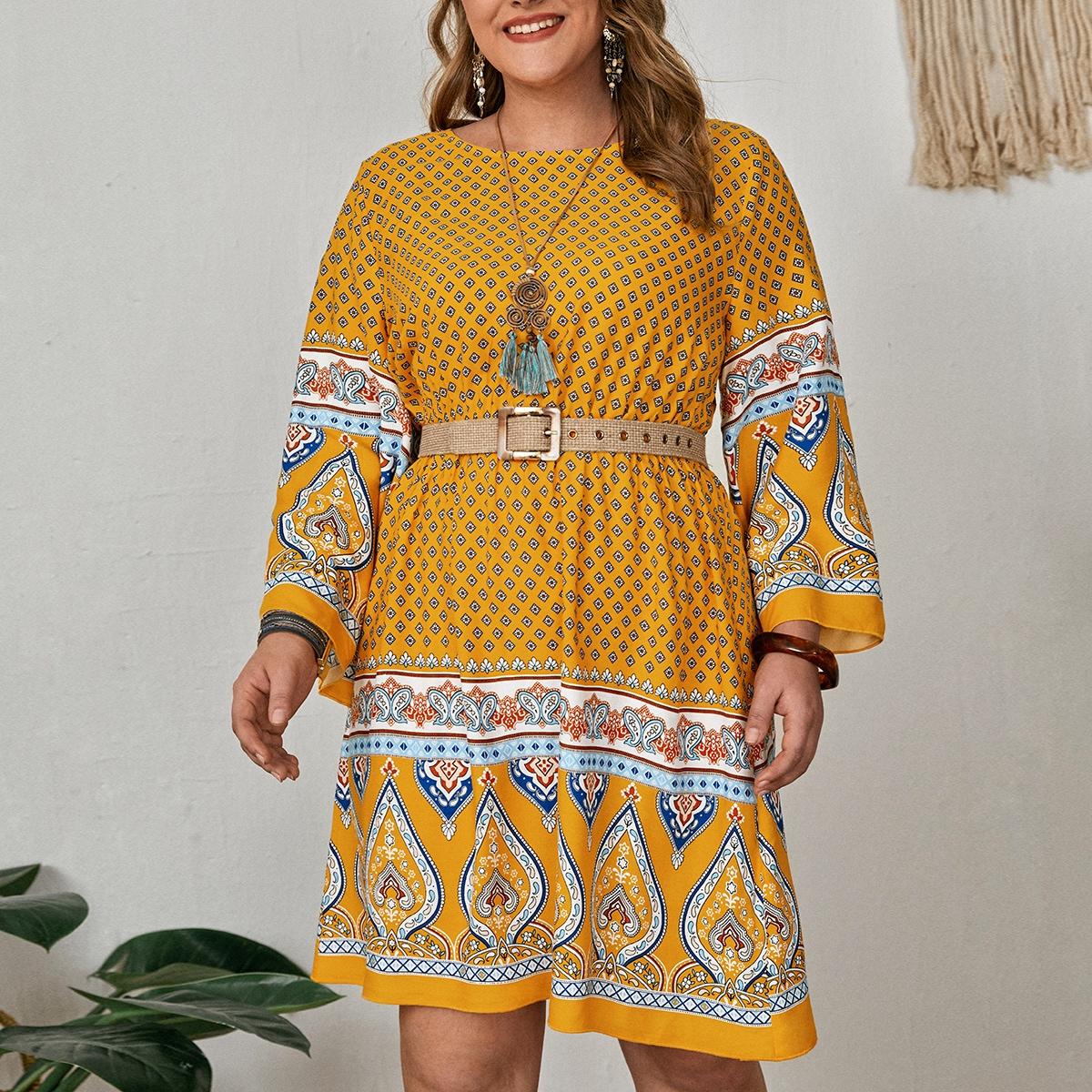 Plus Argyle & Paisley Print A-line Dress Without Belt