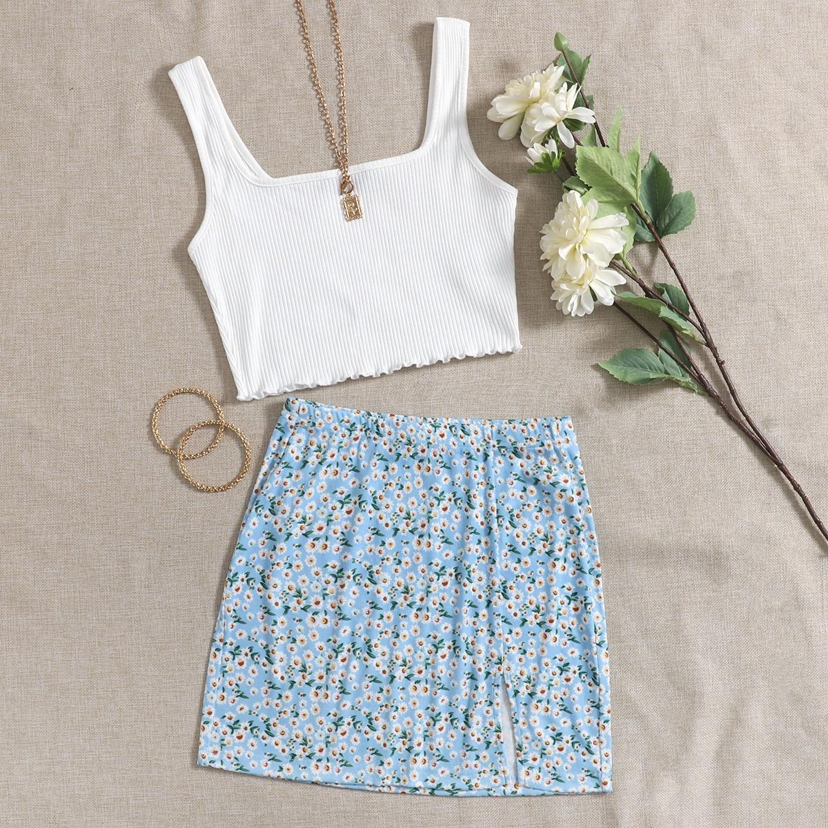 Lettuce Edge Tank Top & Slit Hem Daisy Floral Skirt Set, SHEIN  - buy with discount