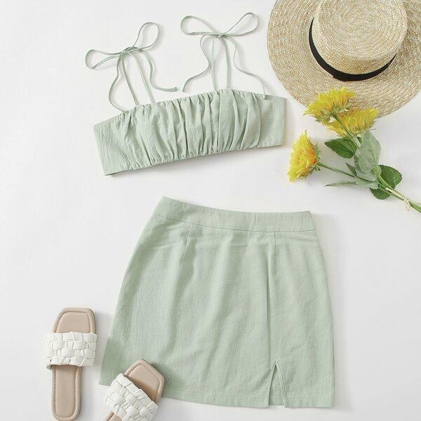 Knot Shoulder Tie Back Ruched Bust Crop Cami Top & Split Hem Skirt Set, Mint green