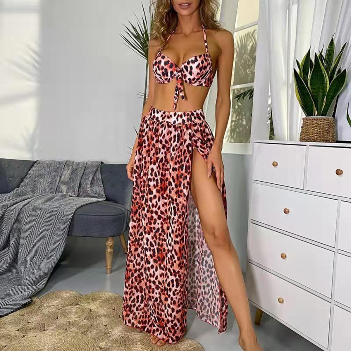 SHEIN / 3pack Leopard Push Up Bikini Swimsuit & Beach Skirt