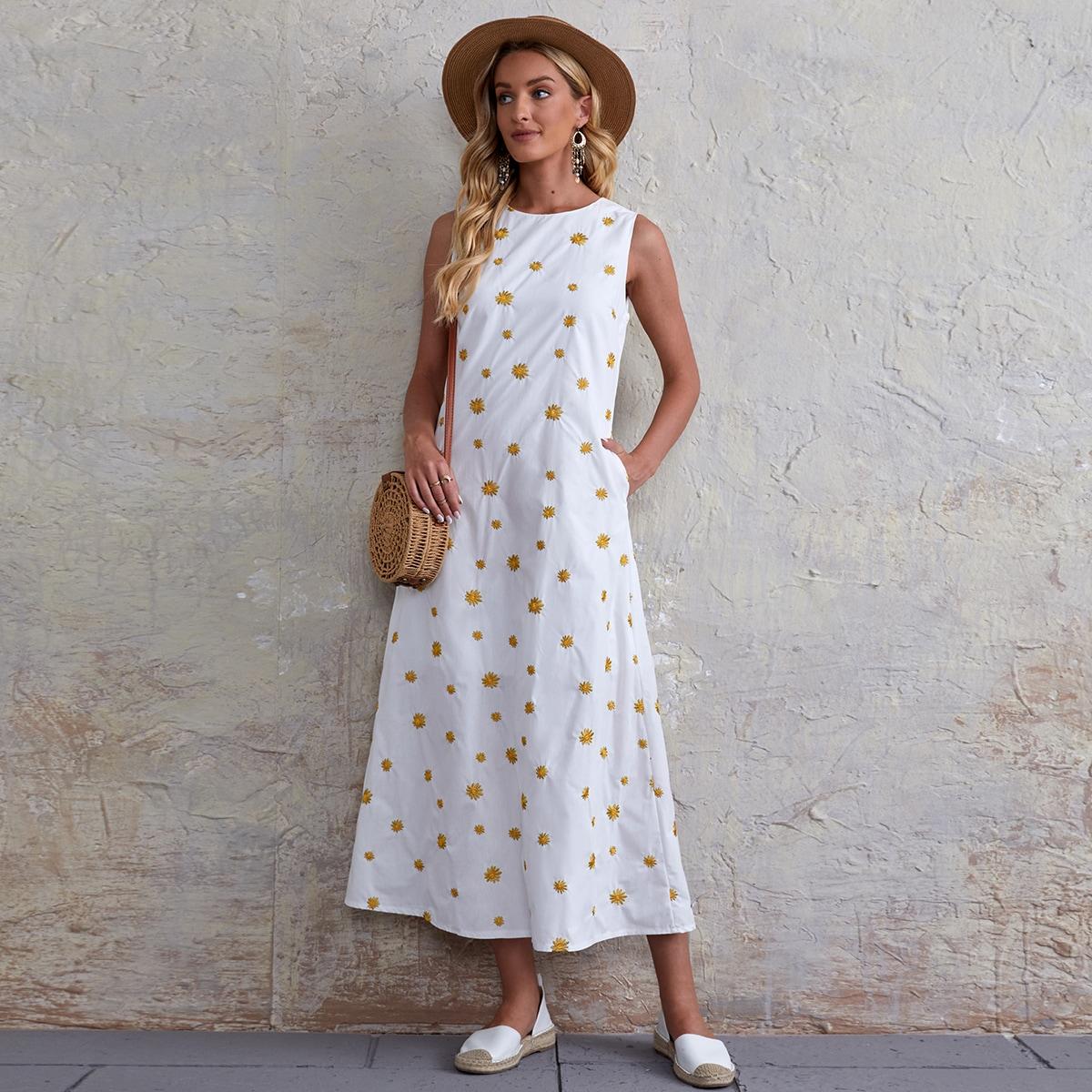 с карманами Цветочный принт Бохо Платье
