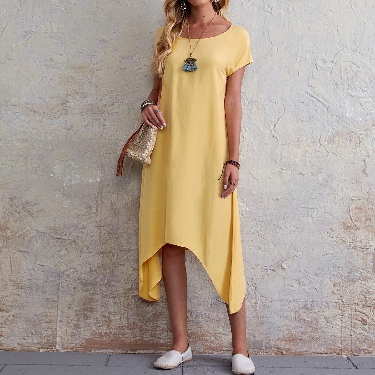 Асимметричный Одноцветный Повседневный Платье