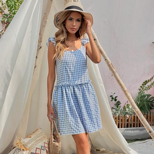 Gingham Ruffle Frill Trim Dress, Blue and white