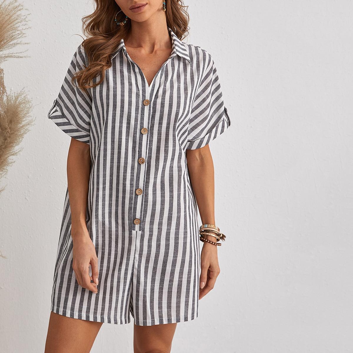 Roll Tab Sleeve Two Tone Striped Shirt Romper