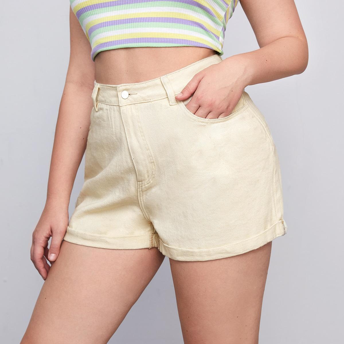 Джинсовые шорты размера плюс с высокой талией